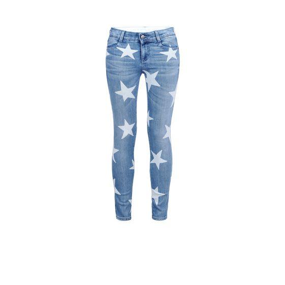 enge ankle grazer jeans mit sternen stella mccartney. Black Bedroom Furniture Sets. Home Design Ideas