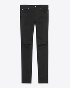Original Low Waisted Skinny Jean in Light Used Black Stretch Denim