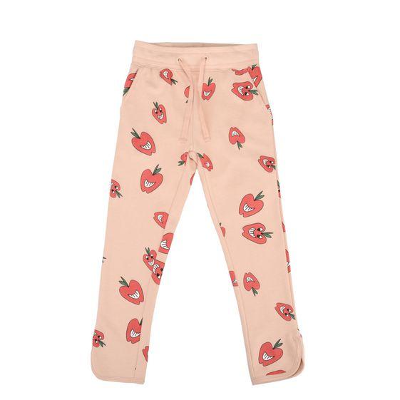 STELLA McCARTNEY KIDS, Bottoms, Cotton fleece trousers featuring an apple print.