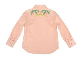 STELLA McCARTNEY KIDS, Blouses & Shirts, Cotton denim shirt in peachy tone featuring a pointed collar, snap button fastening and colored rainbow and cactus embroidered stitching.