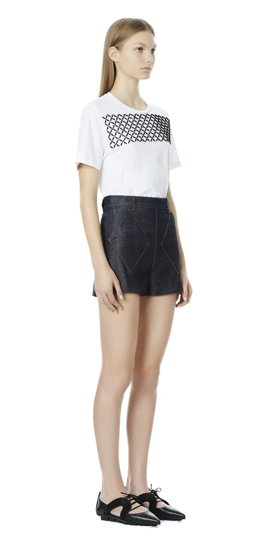 Balenciaga Argyle Denim Shorts