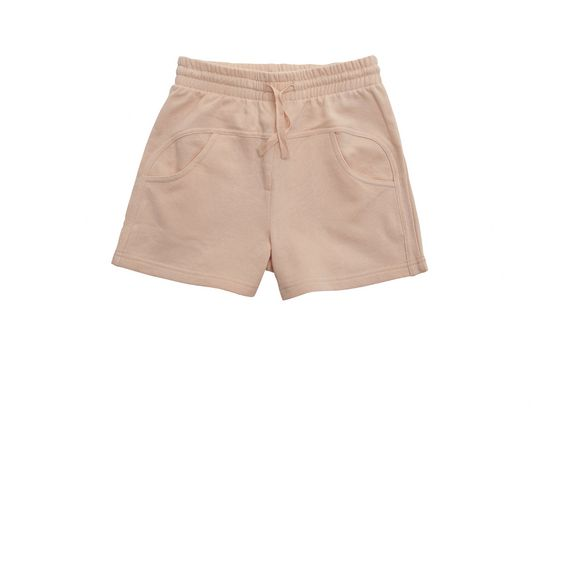 STELLA McCARTNEY KIDS, Bottoms, Organic cotton fleece shorts in a peachy tone featuring side pockets and an elasticated waist with a drawstring pull.