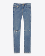ORIGINAL LOW WAISTED Ripped SKINNY JEAN IN Dirty Light Blue STRETCH DENIM