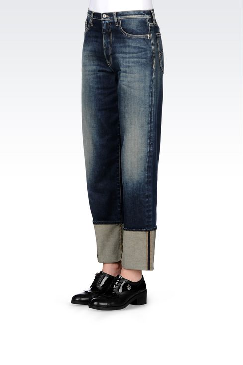 LOOSE FIT MEDIUM DARK WASH JEANS: Jeans Women by Armani - 3