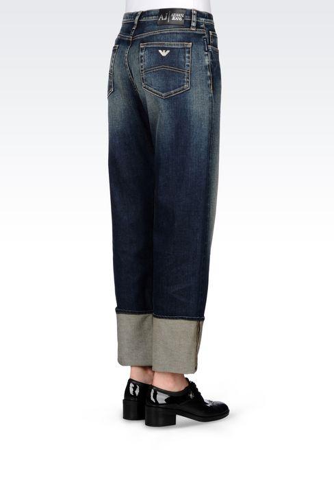LOOSE FIT MEDIUM DARK WASH JEANS: Jeans Women by Armani - 4