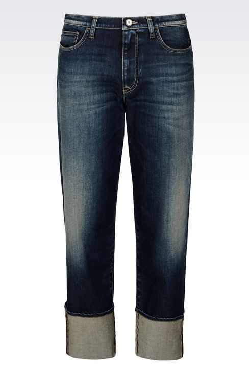 LOOSE FIT MEDIUM DARK WASH JEANS: Jeans Women by Armani - 1