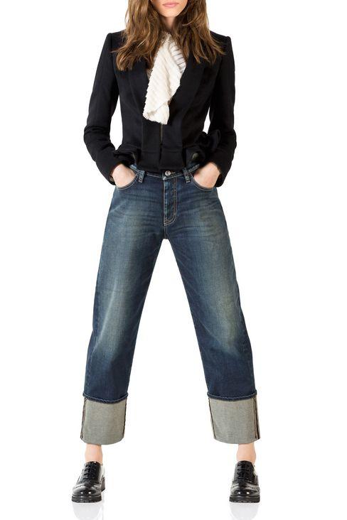 LOOSE FIT MEDIUM DARK WASH JEANS: Jeans Women by Armani - 2