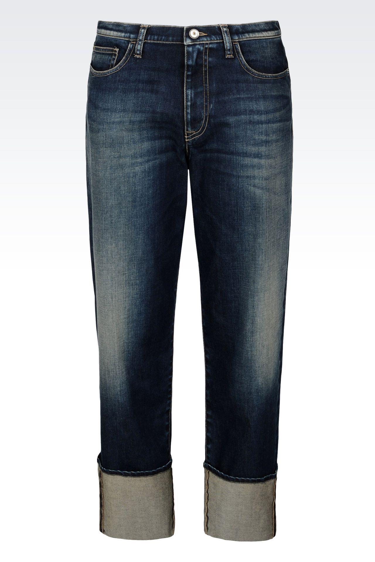 LOOSE FIT MEDIUM DARK WASH JEANS: Jeans Women by Armani - 0