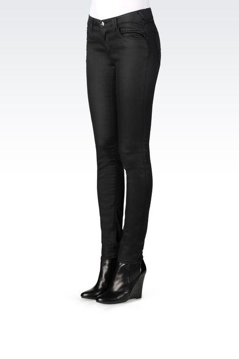 SKINNY JEANS IN LEATHER EFFECT DENIM: Jeans Women by Armani - 3