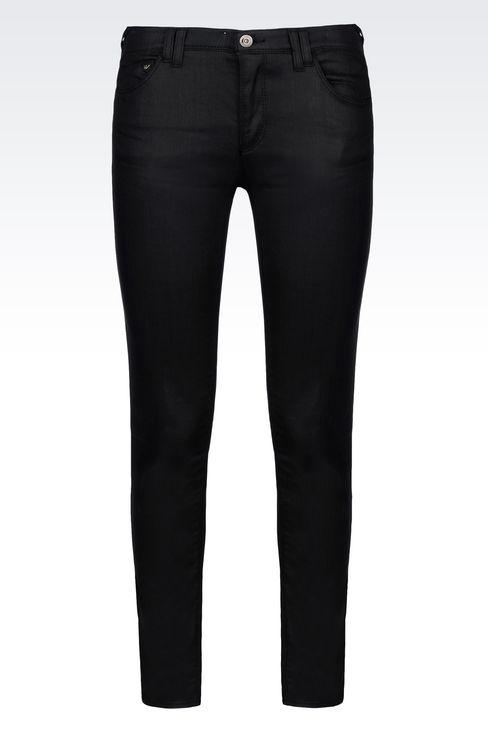 SKINNY JEANS IN LEATHER EFFECT DENIM: Jeans Women by Armani - 1