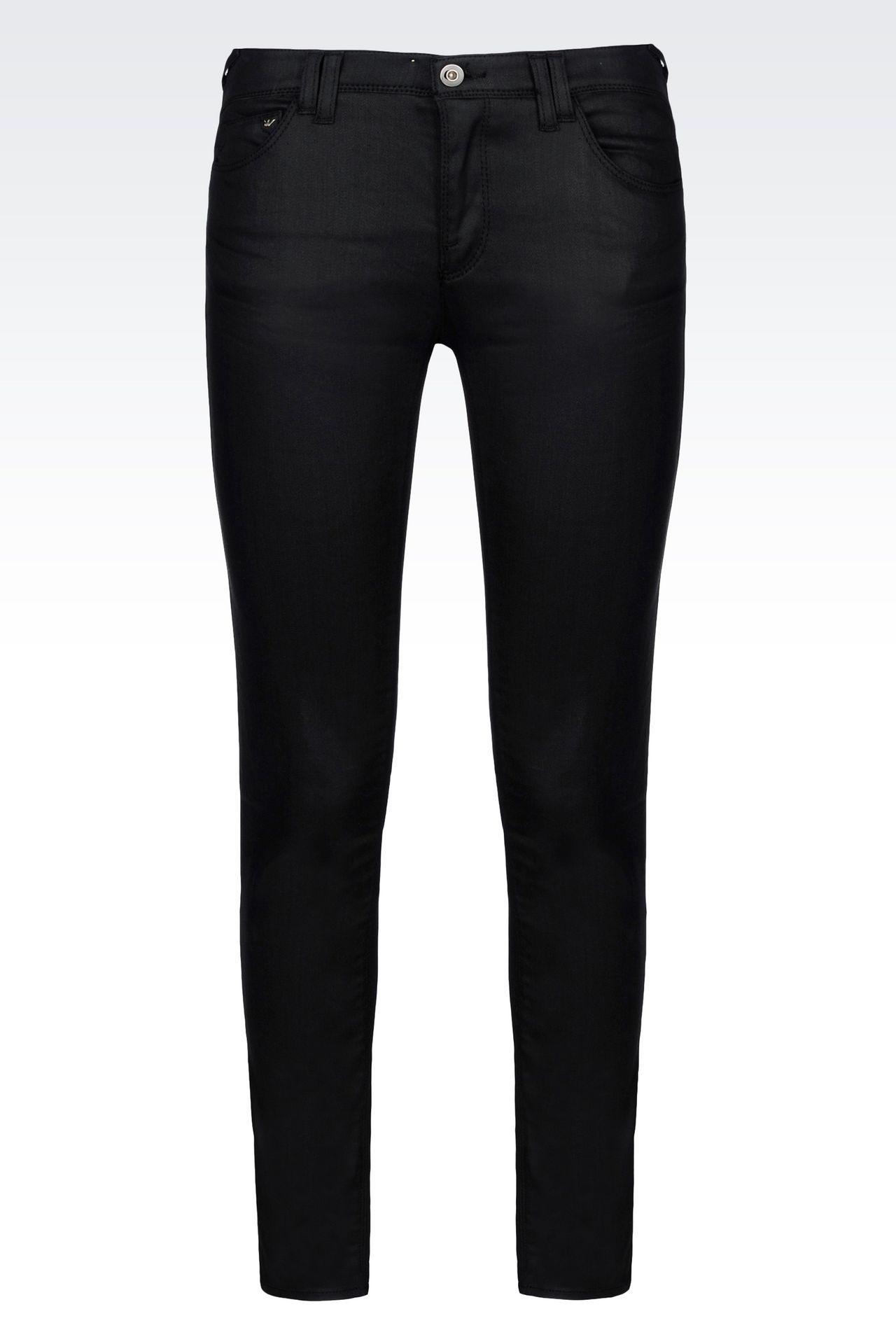 SKINNY JEANS IN LEATHER EFFECT DENIM: Jeans Women by Armani - 0