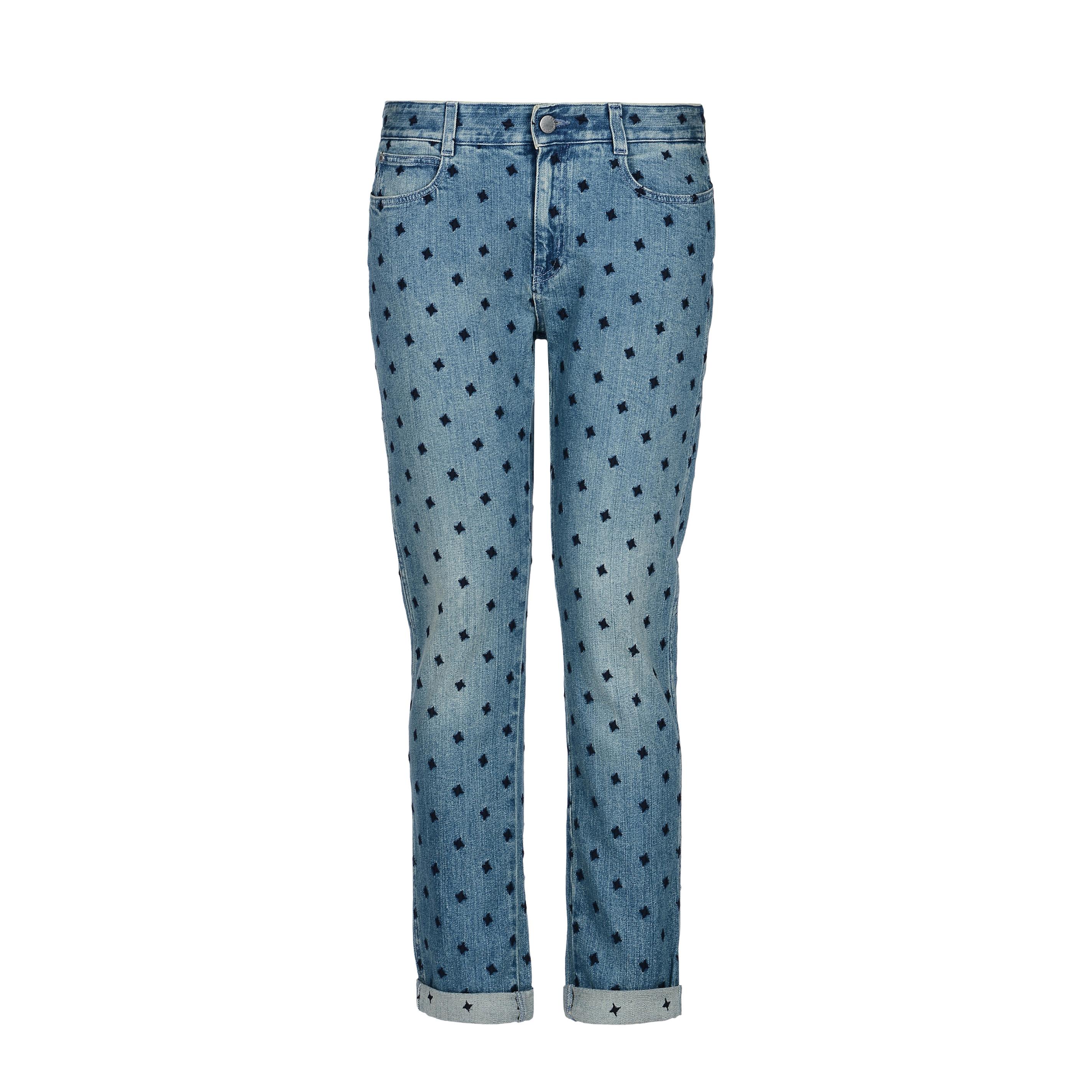 blaue skinny boyfriend jeans mit blauen sternen stella. Black Bedroom Furniture Sets. Home Design Ideas