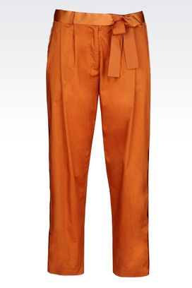 Armani Pants with tucks Women stretch cotton trousers