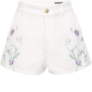 ALEXANDER MCQUEEN, Pants, Embroidered Denim Shorts