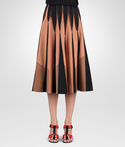 SKIRT IN NERO PERSIMMON NEW CIGAR BONDED WOOL POLYESTER