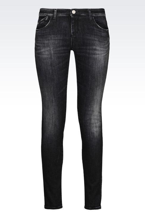 SKINNY BLACK WASH JEANS: Jeans Women by Armani - 1