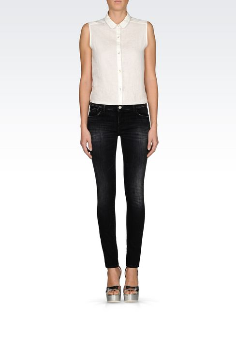 SKINNY BLACK WASH JEANS: Jeans Women by Armani - 2