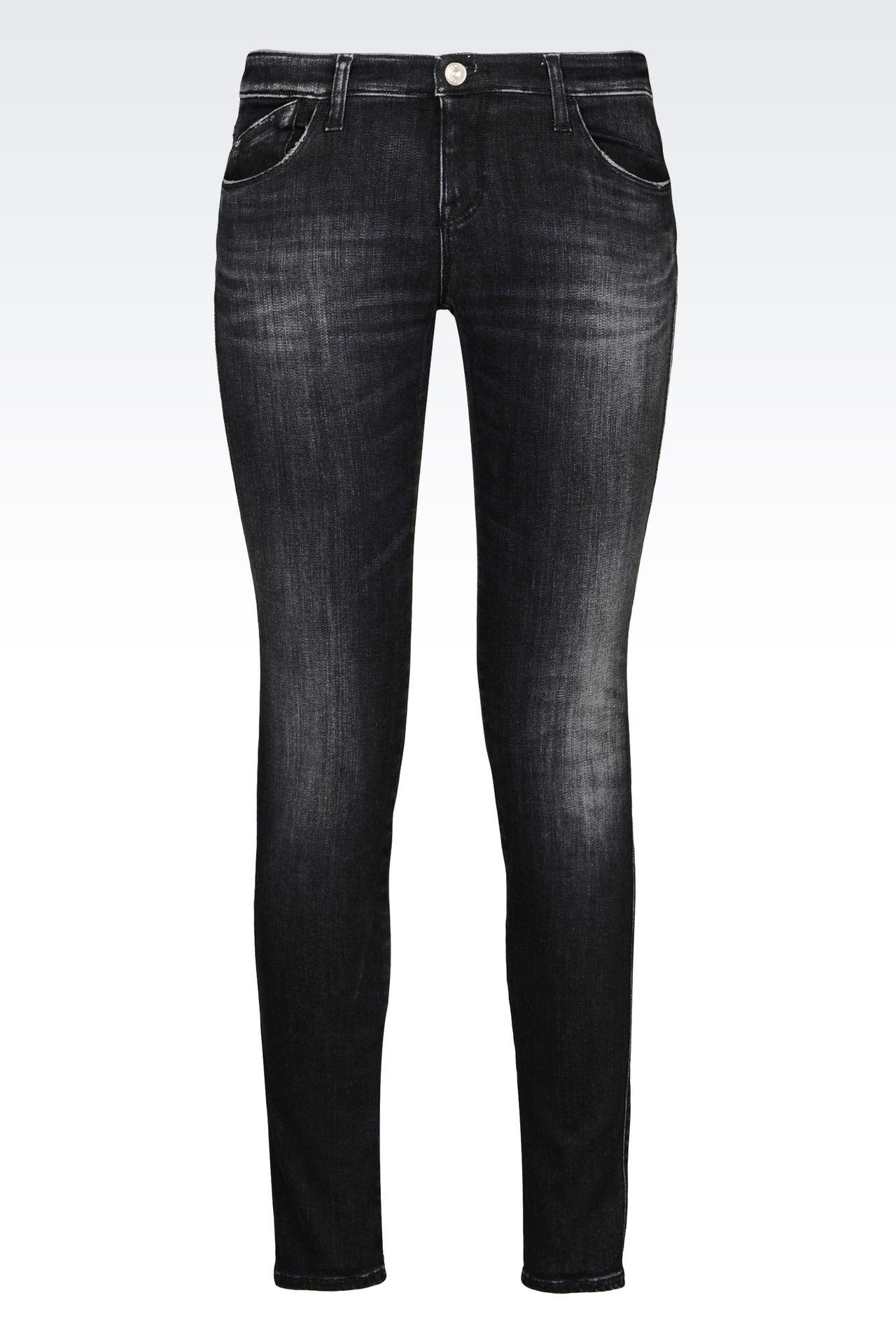 SKINNY BLACK WASH JEANS: Jeans Women by Armani - 0