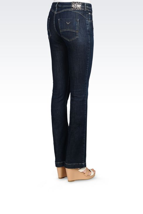 REGULAR FIT DARK WASH JEANS: Jeans Women by Armani - 4