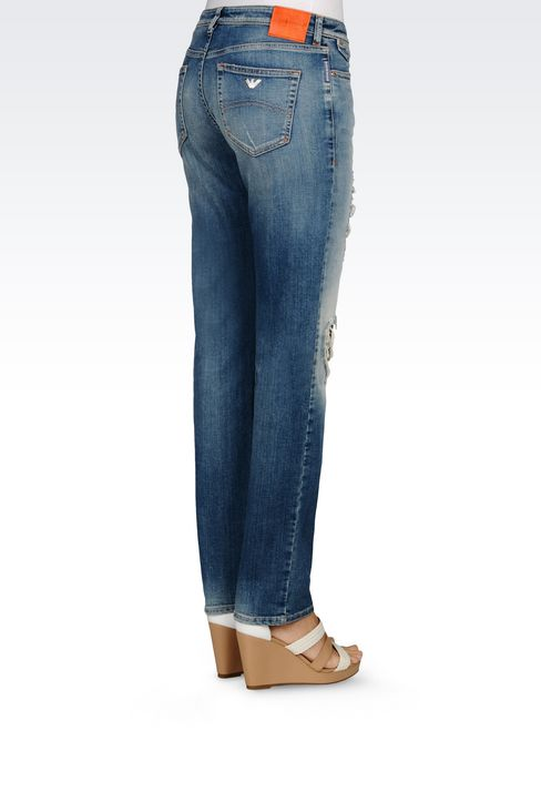 SLIM FIT LIGHT WASH JEANS : Jeans Women by Armani - 4