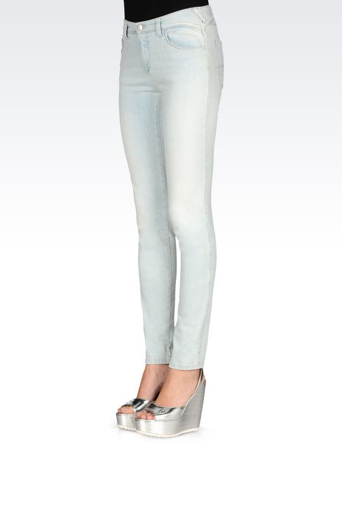 SKINNY FIT LIGHT WASH JEANS: Jeans Women by Armani - 3