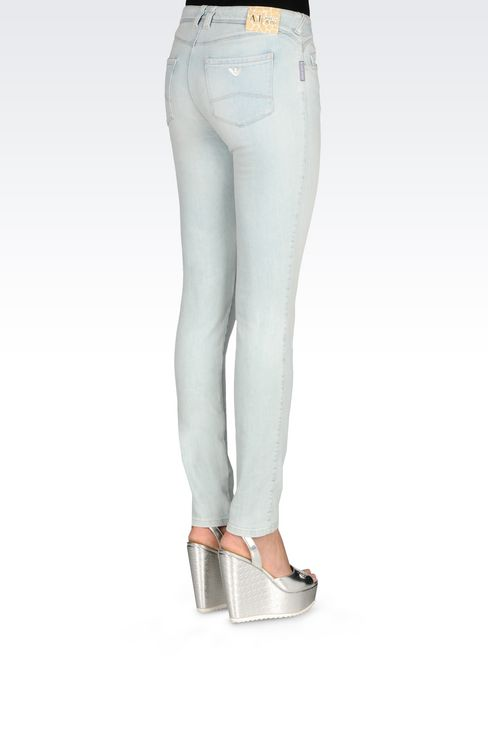 SKINNY FIT LIGHT WASH JEANS: Jeans Women by Armani - 4