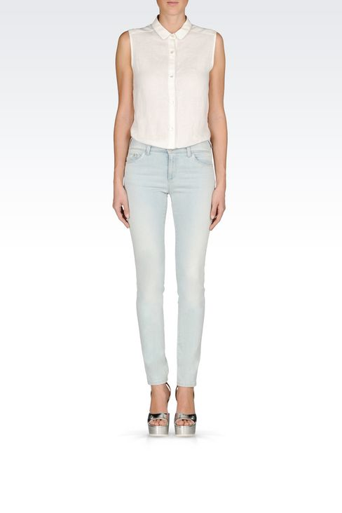 SKINNY FIT LIGHT WASH JEANS: Jeans Women by Armani - 2
