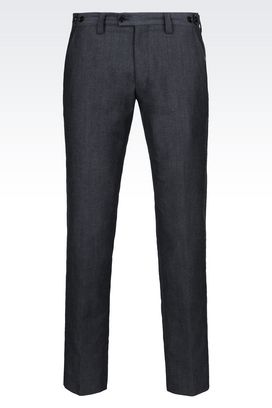 Armani Straight leg pants Men trousers in linen and wool