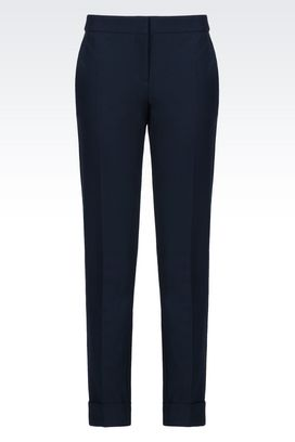 Armani Pants with cuff Women trousers in stretch gabardine