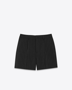 Pleated Shorts in Black Pinstriped Mohair and Virgin Wool