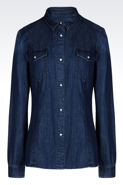 DENIM SHIRT: Long sleeve shirts Women by Armani - 1