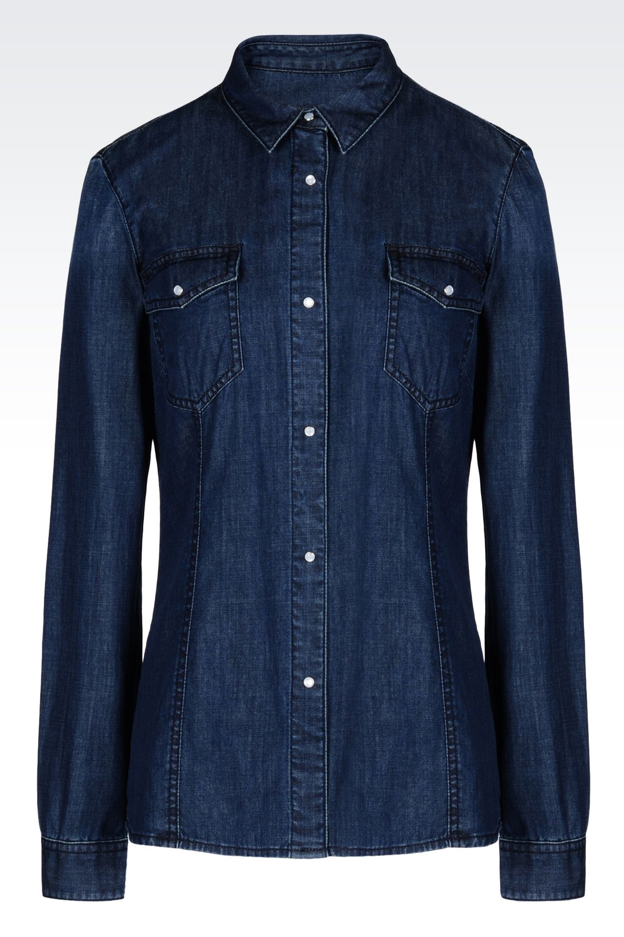 DENIM SHIRT: Long sleeve shirts Women by Armani - 0