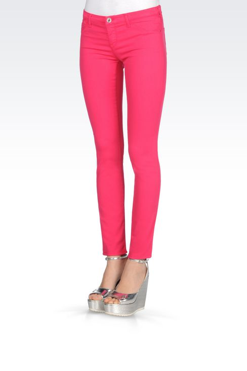 SKINNY FIT 5-POCKET TROUSERS IN MODAL BLEND: Jeans Women by Armani - 3