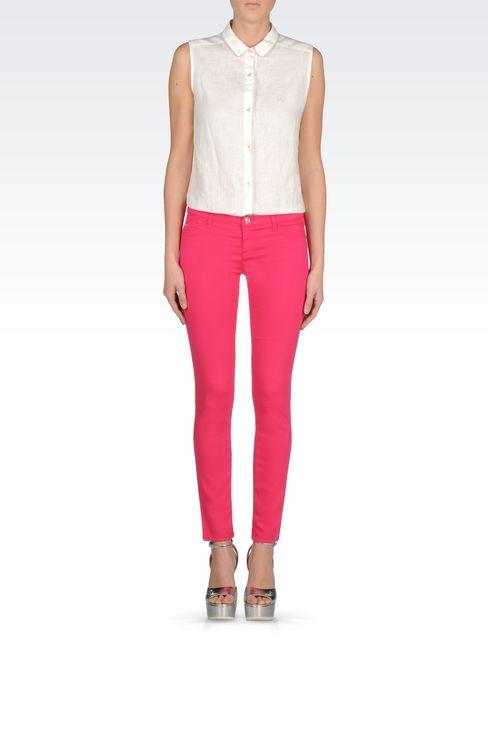 SKINNY FIT 5-POCKET TROUSERS IN MODAL BLEND: Jeans Women by Armani - 2