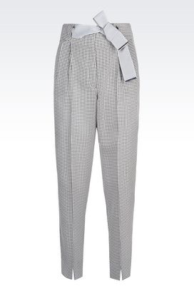 Armani Pants with tucks Women trousers in cloque jacquard