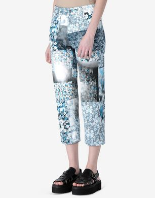 Floral patchwork print trousers