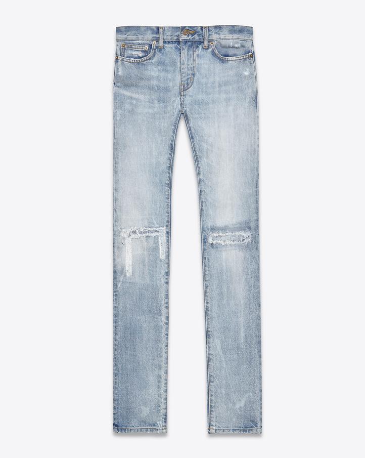 Light Blue Ripped Jeans For Men