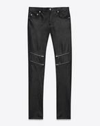 Original Low Waisted Zip Skinny Jean in Black Leather