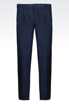 Armani Trousers with tucks Men trousers in cotton poplin