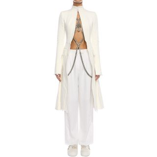 ALEXANDER MCQUEEN, Trousers, Fil Coupe' Crepe Cut Trousers