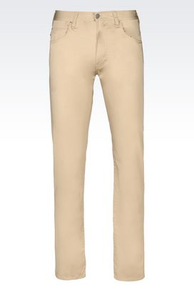 Armani 5 pockets Men slim fit 5 pocket trousers in cotton satin