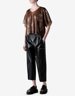 Oversized & cropped faux leather trousers