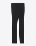 Iconic LE SMOKING Straight Leg Trouser in Black Virgin Wool Gabardine