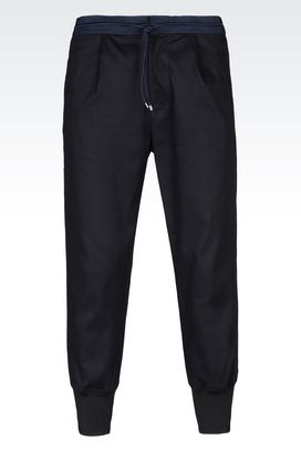 Armani Pants with tucks Men woven cotton trousers