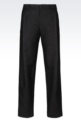 Armani Pants with tucks Men runway micro paisley trousers