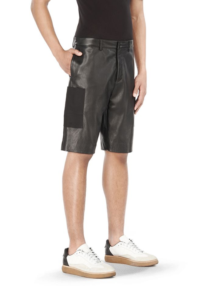 T by ALEXANDER WANG SHORTS Men LEATHER AND CANVAS COMBO SHORTS