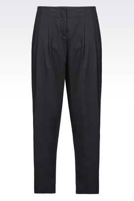 Armani Pants with tucks Women trousers in stretch cotton gabardine