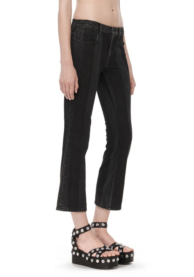 ALEXANDER WANG denim-x-aw TRAP BOOT-CUT CROPPED JEAN WITH PRINTED STRIPES