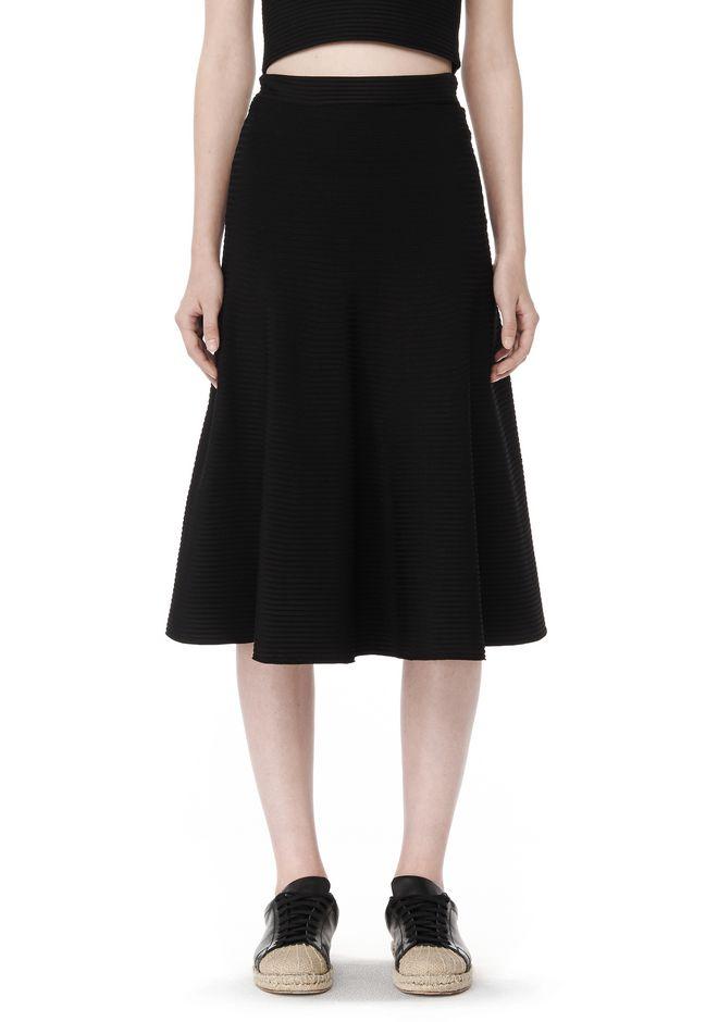 wang ribbed flared midi skirt