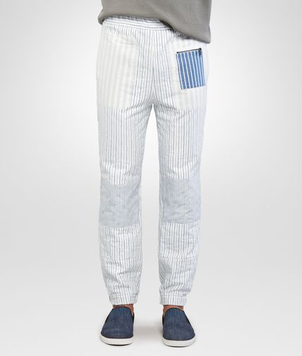 TROUSERS IN WHITE NAVY STRIPED COTTON